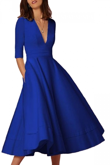 Women Elegant Plain V Neck Half Sleeve Evening Dress Blue
