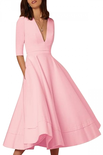 Women Elegant Plain V Neck Half Sleeve Evening Dress Pink