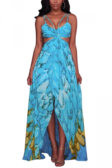 Women Sexy Straps Printed Cut Out Beach Wear Maxi Dress Blue
