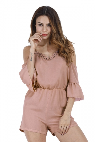 Women Straps Flare Sleeve High Waist Selvedge Romper Pink