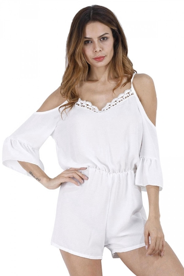 Women Straps Flare Sleeve High Waist Selvedge Romper White