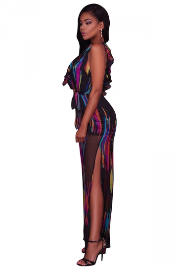 Women Deep V Neck High Waist Printed Wide Legs Split Jumpsuit Black