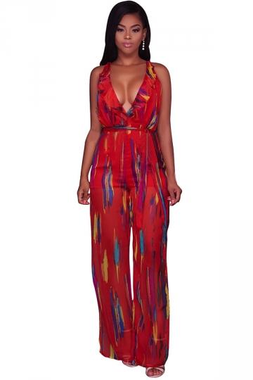 Women Deep V Neck High Waist Printed Wide Legs Split Jumpsuit Red