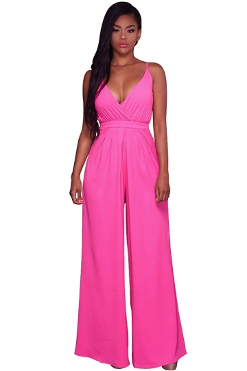 Women Straps V Neck Pleated High Waist Wide Legs Jumpsuit Rose Red