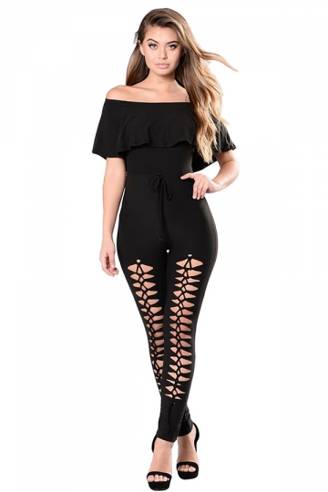 Women Off Shoulder Ruffle Hollow Out Legs Draw String Jumpsuit Black