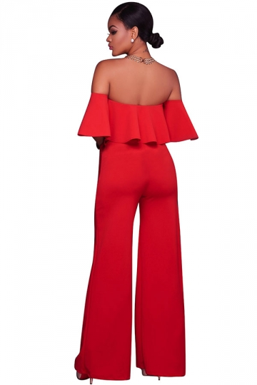 Womens Sexy Off Shoulder Ruffle High Waist Wide Legs Jumpsuit Red