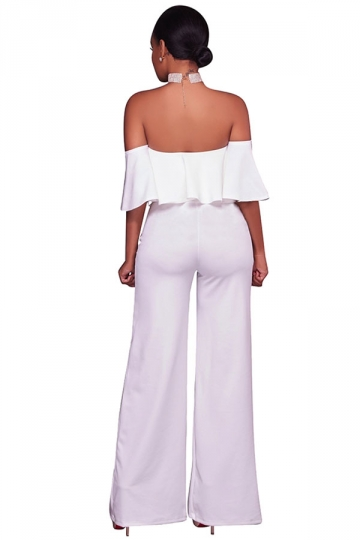 Womens Sexy Off Shoulder Ruffle High Waist Wide Legs Jumpsuit White
