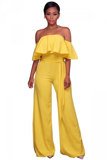 Womens Sexy Off Shoulder Ruffle High Waist Wide Legs Jumpsuit Yellow