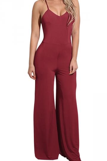Women Sexy Straps High Waist Wide Legs Open Back Jumpsuit Ruby