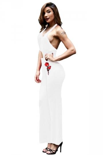 Women Sexy Halter V-Neck Backless Wide Legs High Waist Jumpsuit White
