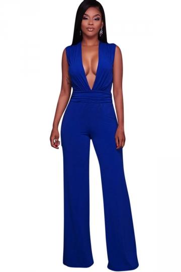 Women Sexy Deep V Neck High Waist Wide Legs Jumpsuit Sapphire Blue