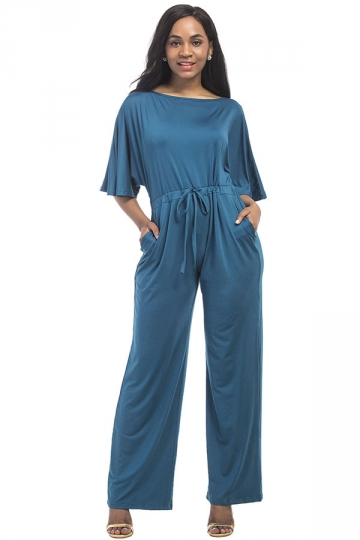 Women Elegant Plus Size Draw String High Waist Jumpsuit Blue