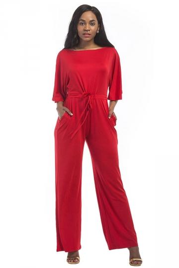 Women Elegant Plus Size Draw String High Waist Jumpsuit Red