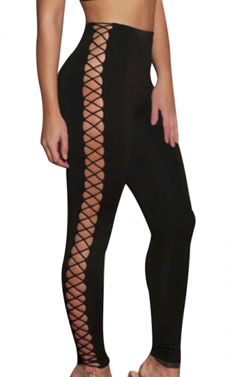 Women Sexy Sideways Hollow Out Lace-Up Slimming Pants Black