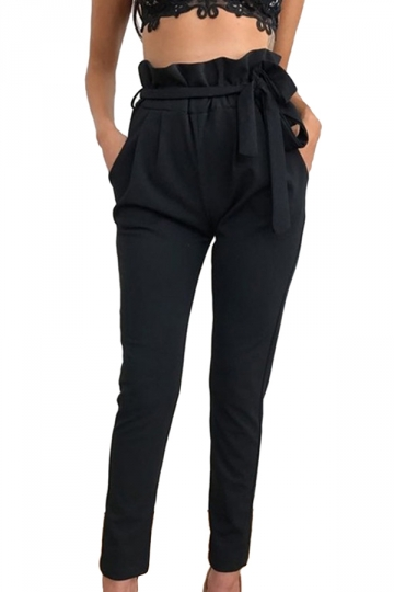 Women Stringy Selvedge Elastic Waist Harem Pants With Belt Black