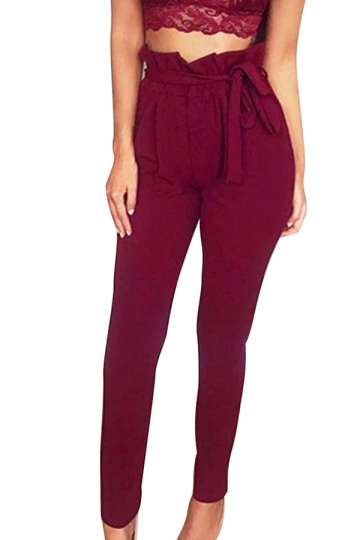 Women Stringy Selvedge Elastic Waist Harem Pants With Belt Ruby