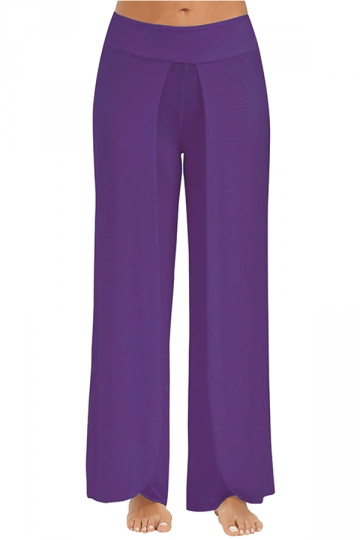 Women Wide Legs Side Slits Yoga Pants Purple
