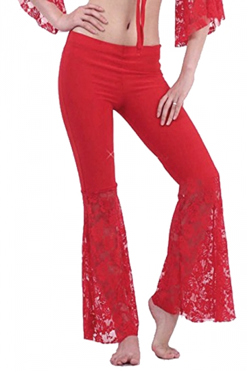 Women Plus Size Lace Patchwork Slimming Flared Pants Red