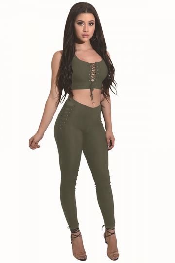 Women Sexy Lace-Up Crop Top&High Waist Tight Pants 2Pcs Suit Green