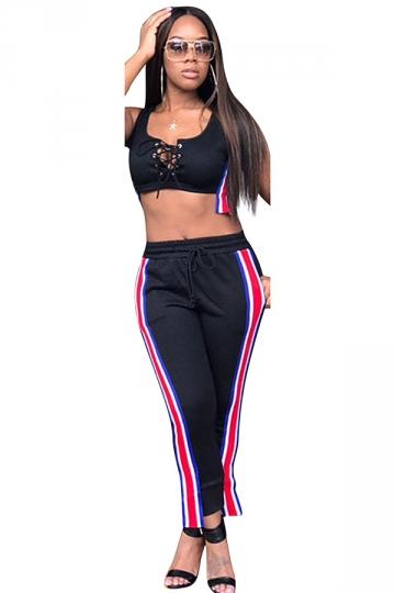Women Sexy Lace-Up Crop Top Draw String Stripes Sweatshirt Suit Black