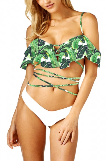 Womens Sexy Ruffle Printed Straps Bandage Two Pieces Swimsuit Green