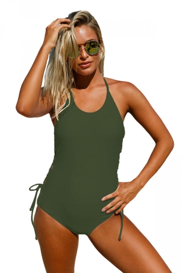 Women Halter Neck Lace Up Sides Monokini Army Green