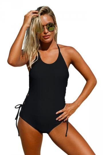 Women Halter Neck Lace Up Sides Monokini Black