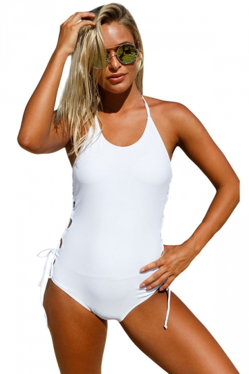 Women Halter Neck Lace Up Sides Monokini White