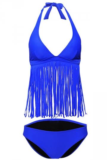 Womens Sexy Halter V-Neck 2Pcs Fringe Bikini Swimsuit Blue