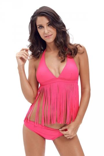 Womens Sexy Halter V-Neck 2Pcs Fringe Bikini Swimsuit Rose Red