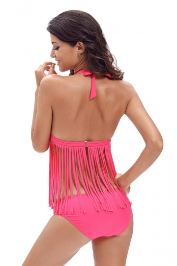 Womens Sexy Halter V-Neck 2Pcs Fringe Bikini Swimsuit Rose Red
