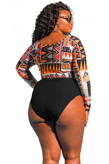 Women Sexy Plus Size Long Sleeve Printed Two Pieces Swimsuit Orange