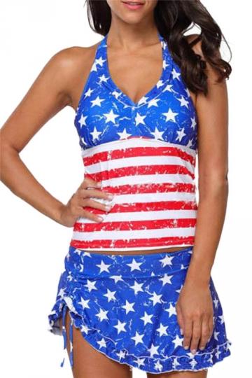 Womens Sexy Halter Flag Printed Ruffled Skirt Tankini Sapphire Blue
