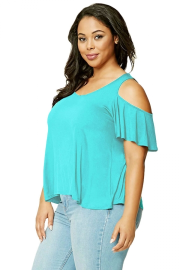 Women Plus Size Cold Shoulder Ruffled T-Shirt Blue