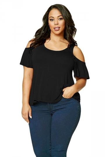 Women Plus Size Cold Shoulder Ruffled T-Shirt Black