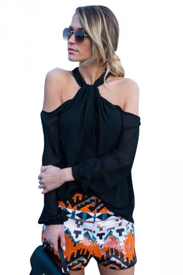 Women Sexy Halter Cold Shoulder Long Sleeve Chiffon Blouse Black