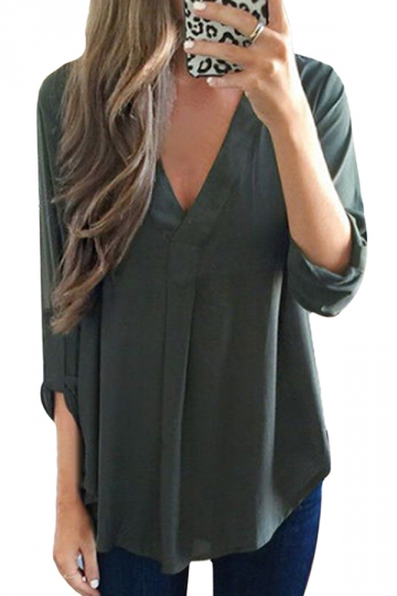 Women Solid Color V Neck Pocket Chiffon Blouse Green