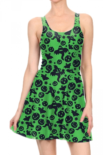 Women Halloween Pumpkin Ghost Printed Tank Skater Dress Dark Green