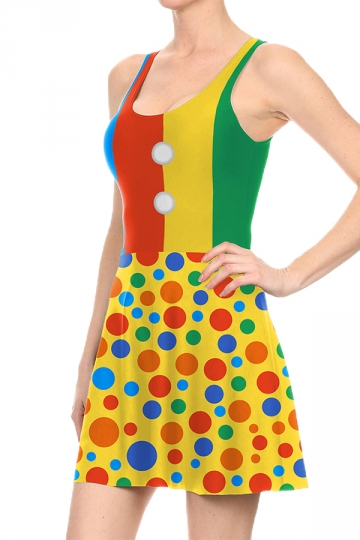 Women Halloween Clown Dot Printed Tank Skater Dress Yellow