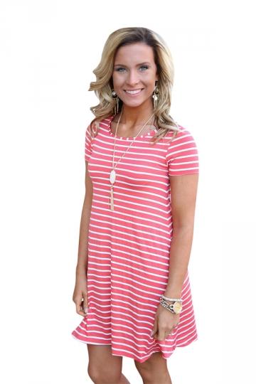 Women Casual Stripes Crew Neck Short Sleeve Shirt Dress Pink
