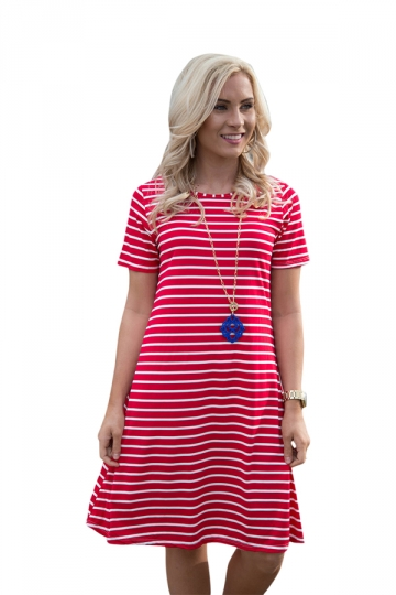 Women Casual Stripes Crew Neck Short Sleeve Shirt Dress Red