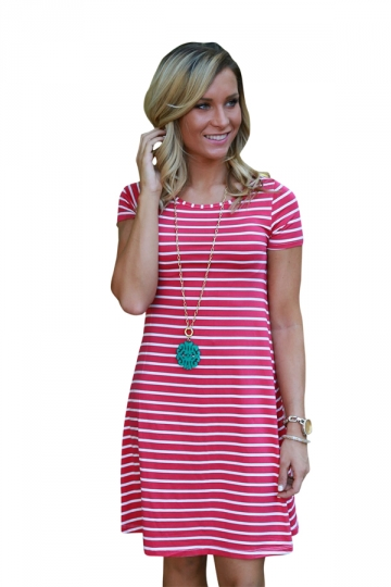 Women Casual Stripes Crew Neck Short Sleeve Shirt Dress Watermelon Red