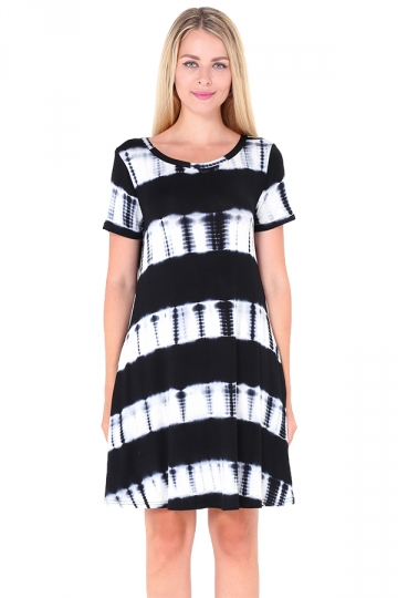 Crew Neck Short Sleeve Pleated Tie-Dyed Shirt Dress Black