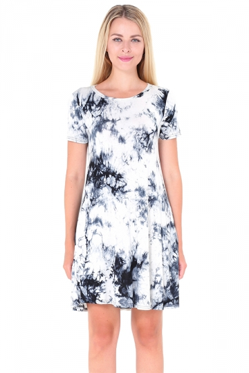Crew Neck Short Sleeve Pleated Tie-Dyed Shirt Dress Gray