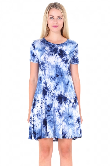 Crew Neck Short Sleeve Pleated Tie-Dyed Shirt Dress Sapphire Blue