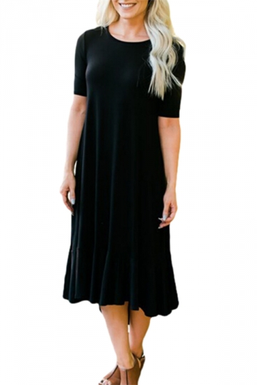 Flowy Ruffles Short Sleeve Fishtail Casual Dress Black