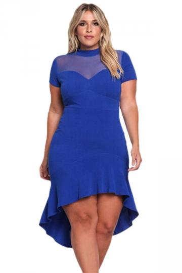 Women Plus Size Mesh Insert Ruffled High-Low Hem Curvy Dress Blue