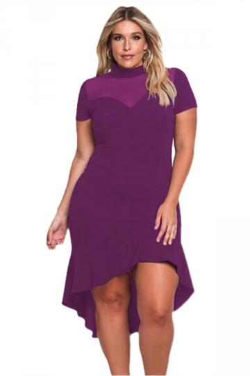 Women Plus Size Mesh Insert Ruffled High-Low Hem Curvy Dress Purple