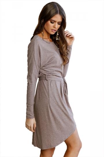 Women Long Sleeve Loose Casual Tie Waist Dress Coffee