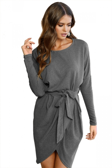 Women Long Sleeve Loose Casual Tie Waist Dress Gray
